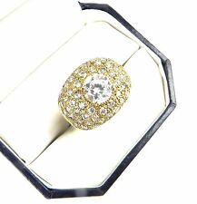 SEXY YELLOW GOLD OVER STERLING SILVER RING ROUND CZ CENTER STONE & ACCENTS SZ: 7