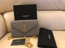 Yves Saint Laurent YSL Gray Leather Monogram Wallet on Chain Crossbody/Clutch