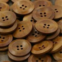 50pcs Round 4-holes Wooden Buttons Fit Sewing DIY Scrapbooking 25mm