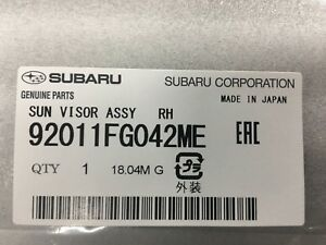 Genuine 08-11 Subaru Impreza 08-14 WRX STi Passenger Sun Visor 92011FG042ME RH