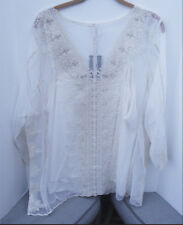 ULTRA PINK 2pc BEIGE EMBROIDERED LACE ¾ SLEEVE EVENING TOP BLOUSE & CAMI 1X NEW