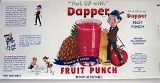 "Vintage ""Dapper"" Fruit Punch Label w/ Picture of Little Dapper Man    *"