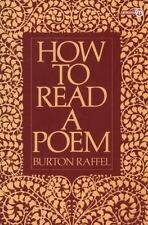 How to Read a Poem (Meridian), Burton Raffel, New Book