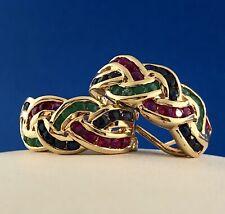 Retro 14K Yellow Gold Ruby Emerald Sapphire Trinity Braided Half Hoop Earrings