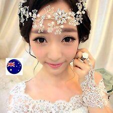 Women White Wedding Bride Bridal Crystal Frozen Party Hair peice Headband Prop