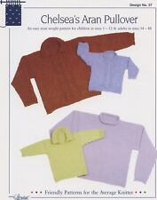 Chelsea's Aran Pullover - Design by Louise Knitting Pattern #37 - Child & Adults