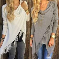 Women Long-Sleeve Knitted Tassle Cardigan Tops Loose Sweater Outwear Jacket Coat