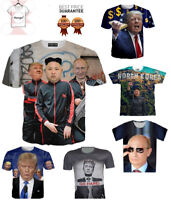 New 3D presidents Funny T-shirt Kim Jong Un Putin Trump Tee Fashion Size S - 7XL