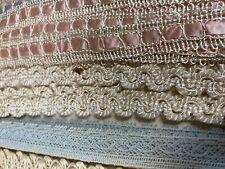 vintage lace trim yardage LOT pink blue satin trim doll bear white dress edging