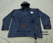 J368 L Hoodie Washed Cotton Homemade Blue Cross Zip fleece Jacket Tibet Nepal