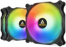 More details for 3 pack antec case fan rgb 120mm led pc cooling fan computer game desktop 3/4 pin