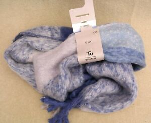 TU WOMAN Ladies Thick Acrylic Scarf One Size Blue Lilac Soft Feel MRRP £14