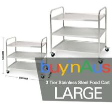 SOGA 3 Tier Stainless Steel Kitchen Dining Food Cart Trolley Utility Small R
