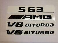 MERCEDES S CLASS C217 S63 GLOSS BLACK AMG+S63+V8 BITURBO BADGES EMBLEMS 2014-21