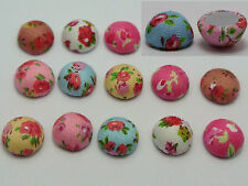 50 Color Flatback Fabric Flower Covered Buttons Round 11mm Cabochon for DIY