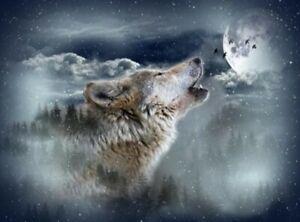 "Hoffman Call Of The Wild Moonstruck Howling Wolf Quilt Panel 32"" x 43"""