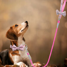 Bowtie Small Dog Collar Matching Nylon Leash Rope Fancy Pet Puppy Necklace Pink