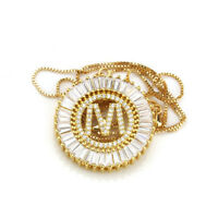 Crystal Initial Necklace for Women Gold Chain A-Z Letter Name Pendant Necklace