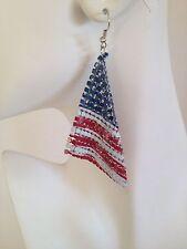 "Patriotic USA American Flag Mesh Metal Dangle Earrings Red White Blue 4"" Long"