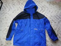 OBERMEYER SKI WEAR Blue/Black SKI WINTER JACKET w/ Hood LARGE Mens Large