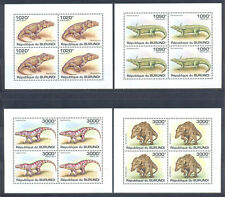 Burundi 2011 Fauna. Dinosaurs. Crocodiles, 4 mini sheets. MNH