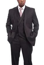 Steven Land Solid Dark Brown Vested One Button Wool Suit Peak Lapels