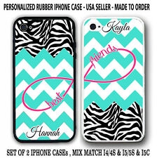 TURQUOISE CHEVRON ZEBRA PATTERN BFF Best Friends CASES For iPhone 6 6S 4S 5S 5C
