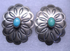 SOUTHWESTERN STERLING SILVER TURQUOISE CONCHO PIERCED EARRINGS SIGNED D. COOKE