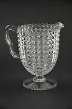 Clear Glass Pitcher Water Serving Beaded Textured Fancy Breakfast Brunch Footed