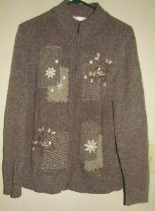Northern Reflections Zip Cardigan Sweater Beige Cotton Snowflakes Birds XL