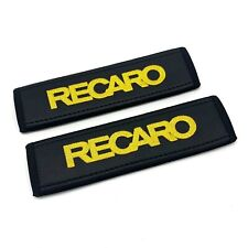 Recaro Soft Leather Seat Belt Shoulder Pads Covers Yellow embroidery 2PCS