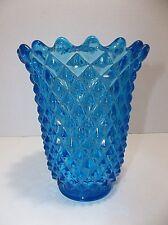 Vintage Mid Century IMPERIAL Glass VASE Diamond Point TURQUOISE BLUE