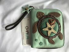 NEW CHALA BLUE GREEN SEA TURTLE ZIPPERED WALLET FAUX LEATHER BROWN