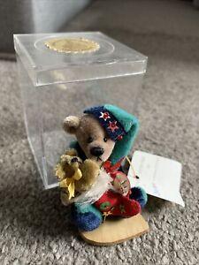 "Deb Canham Little Gem CHRISTOPHER Christmas Jester 3"" Mini  Bear Mint Box W/tag"