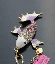 A550Z    Betsey Johnson Crystal Enamel Carp Fish Pendant Long Chain Necklace