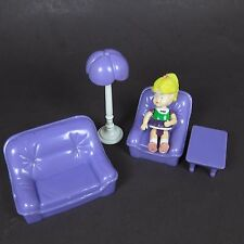 Doll House Furniture Lot Living Room Doll Chair Sofa Purple Plastic 90's Set