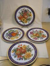 """4 LG Porcelaine T Limoges Dec a la main 12"""" Charger Plates Fruit Cobalt/Gold"""