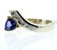 Fine Estate 14k Yellow White Gold Tanzanite Diamond Ladies Ring Size 9