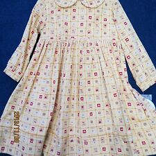 Sarah Louise size 3 T Yellow Gold corduroy dress, Red trim, new w/tags