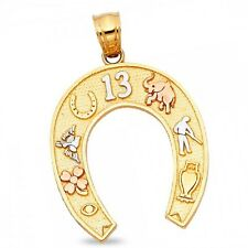 Horseshoe Pendant Solid 14k Yellow White Rose Gold Good Luck Charm Diamond Cut