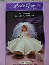 "Bridal Gown Crocheted Outfit for 13"" Bed Doll Leaflet by Fibre Craft"