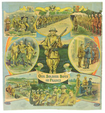 """1914-18 Ww1 Our Soldier Boys in France 15.75"""" x 17.25"""" Lithograph"""