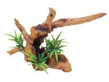 Driftwood with Plant Reptile Terrarium Vivarium Ornament Decoration