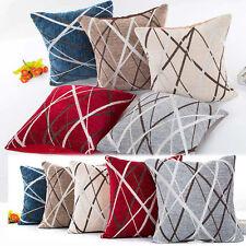 Chenille Ray Stripes Plush Pillow Case Sofa Waist Cushion Cover Home Decor Cover