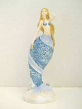 "Blue Mermaid With Seashells On Wave Figurine Home Beach Nautical Decor New 10"""