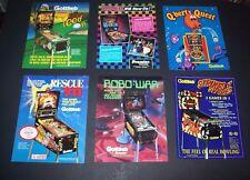 Lot (6) ORIGINAL GOTTLIEB 1980s - 1990s Arcade PINBALL MACHINE Flyers set #43
