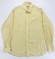 Burberry London Yellow Plaid Check Button Up Shirt Long Sleeve Mens Large