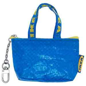 New lot 2 blue IKEA KNÖLIG bag Duffle Keychain Coin Purse Storage Tote