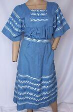 Vintage Azul Bordado GUATEMALA étnico Patio Día Muu Festival Boho vestido S M