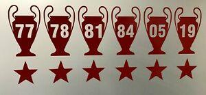Liverpool FC 6x Champions League Vinyl Decal window car bike wall laptop sticker